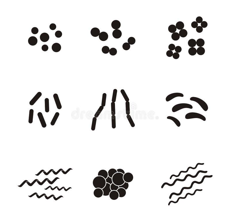 Former av bakterier - pictogram stock illustrationer