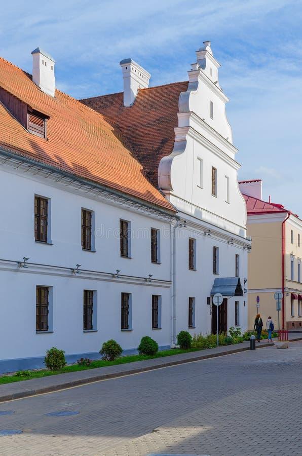 Former basilian convent, Engels Street 1, Minsk, Belarus. MINSK, BELARUS - OCTOBER 1, 2016: Unidentified people go on Engels Street near building of former stock image