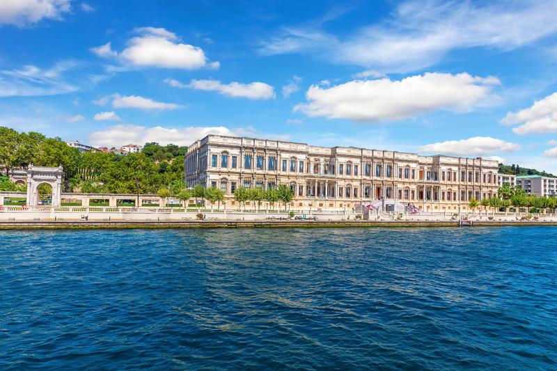 Former C ragan Palace in Besiktas district of Istanbul, Turkey.  royalty free stock photography