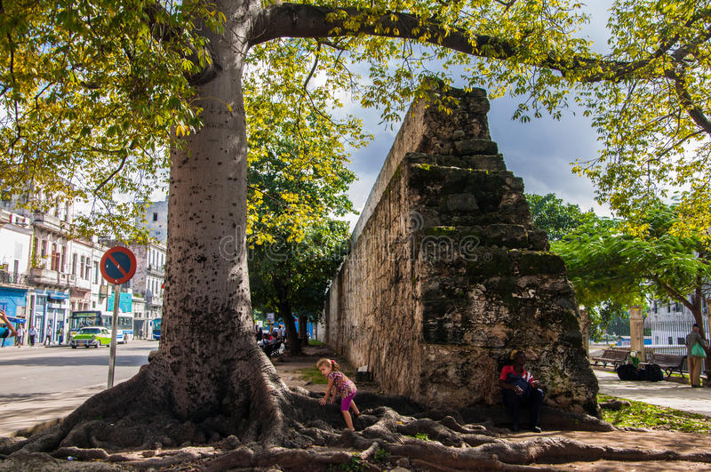 The former city wall in Havana, Cuba royalty free stock photography