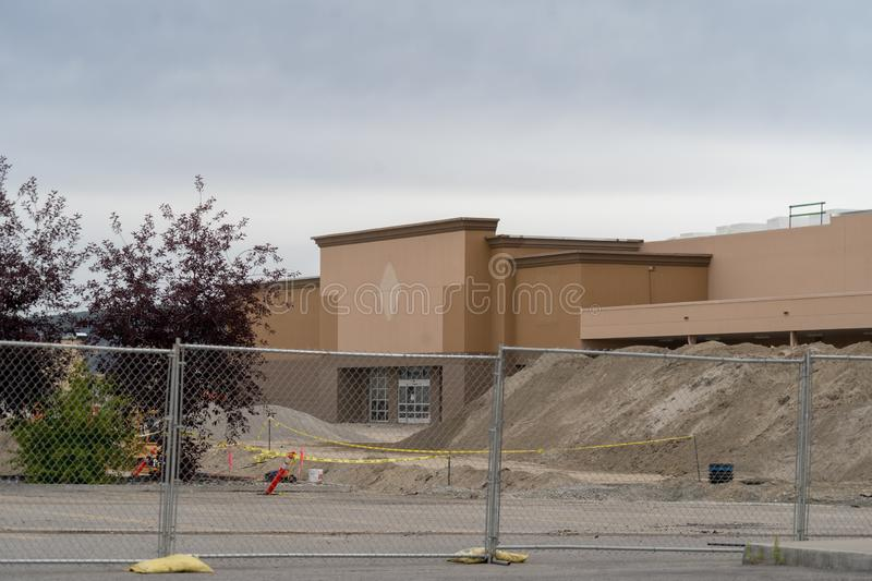 AUGUST 12 2018 - FAIRBANKS, ALASKA: Closed Sam`s Club Wholesale club store is being renovated into a Costco Wholesale Club retaile. Former closed Sam`s Club royalty free stock photos