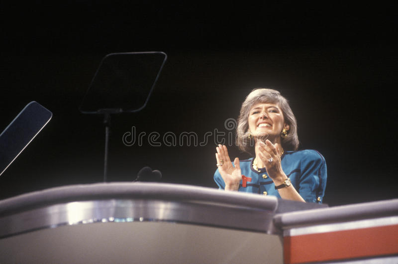 Former Congresswoman Pat Schroeder. Addresses crowd at the 1992 Democratic National Convention at Madison Square Garden, New York stock photo