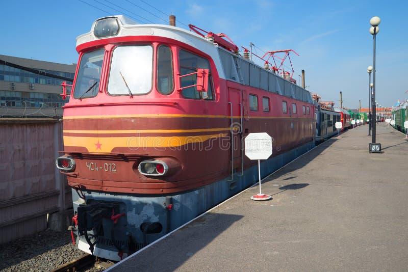 Former Czechoslovak passenger electric chs4 on the railway. St. Petersburg royalty free stock photo