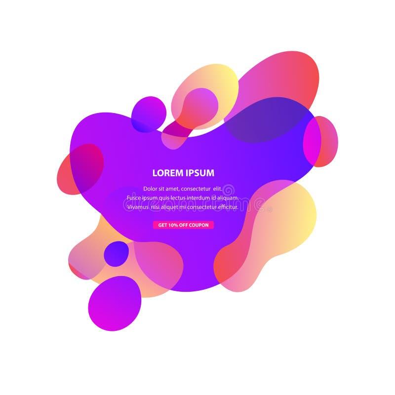 Former för abstrakt vätskeeffekt för vektor fodrar bildar fria i regnbågsskimrande färger för lutning med plast- och Textutrymme royaltyfri illustrationer