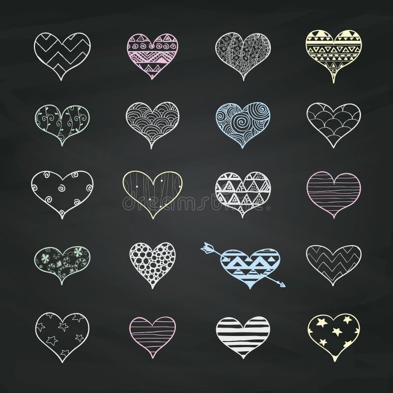 Former för hjärta för vektorkritateckning med klottermodeller royaltyfri illustrationer