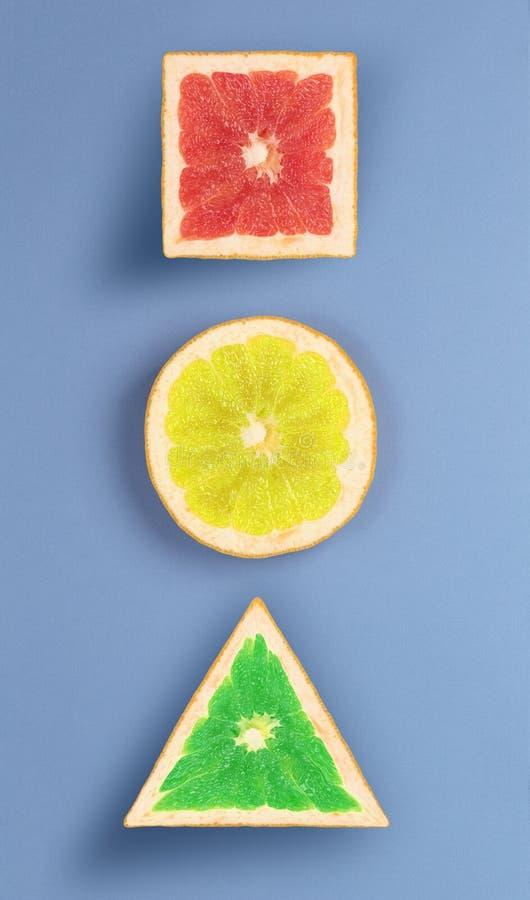 Former för sikt för popkonst olika av grapefrukten royaltyfria bilder