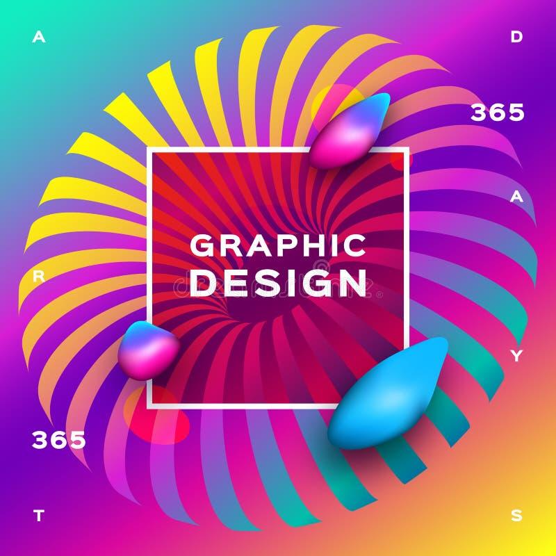 Former för vätska för regnbågebakgrundslutning Futuristisk geometrisk bakgrund Glödande partikelvätskedynamiskt Utmärkt för vektor illustrationer