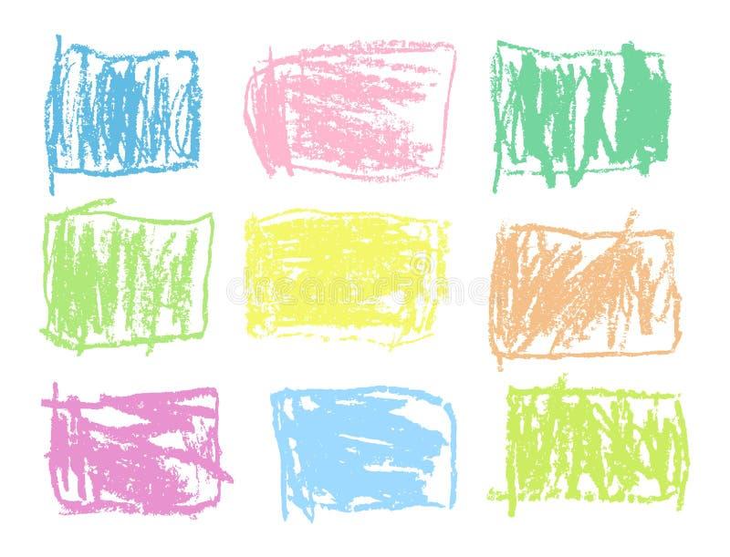 Former in för vektor för pastellfärgad färg för färgpenna ställde mjuka rektangulära färgrika stock illustrationer