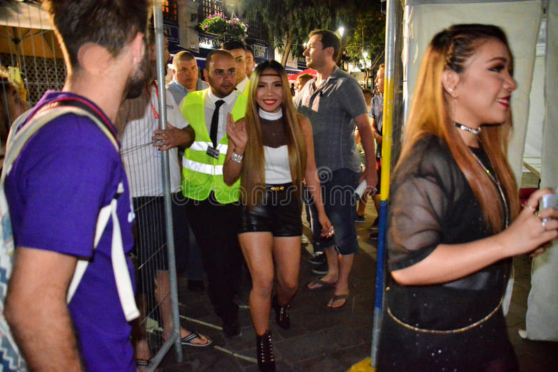 Former X-Factor contestants 4th Impact. Gibraltar - 4th August 2015 - Former X-Factor contestants 4th Impact performed at the annual Gibraltar Summer Nights to a stock photos