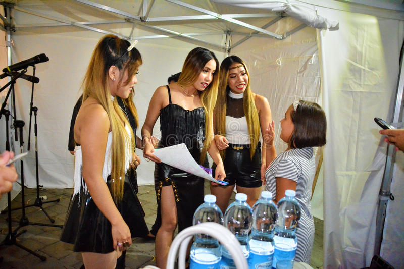 Former X-Factor contestants 4th Impact. Gibraltar - 4th August 2015 - Former X-Factor contestants 4th Impact performed at the annual Gibraltar Summer Nights to a stock photo