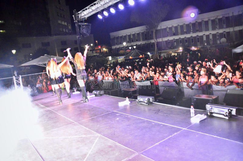 Former X-Factor contestants 4th Impact. Gibraltar - 4th August 2015 - Former X-Factor contestants 4th Impact performed at the annual Gibraltar Summer Nights to a stock images
