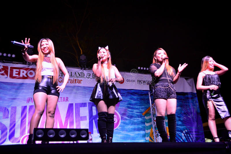 Former X-Factor contestants 4th Impact. Gibraltar - 4th August 2015 - Former X-Factor contestants 4th Impact performed at the annual Gibraltar Summer Nights to a stock image