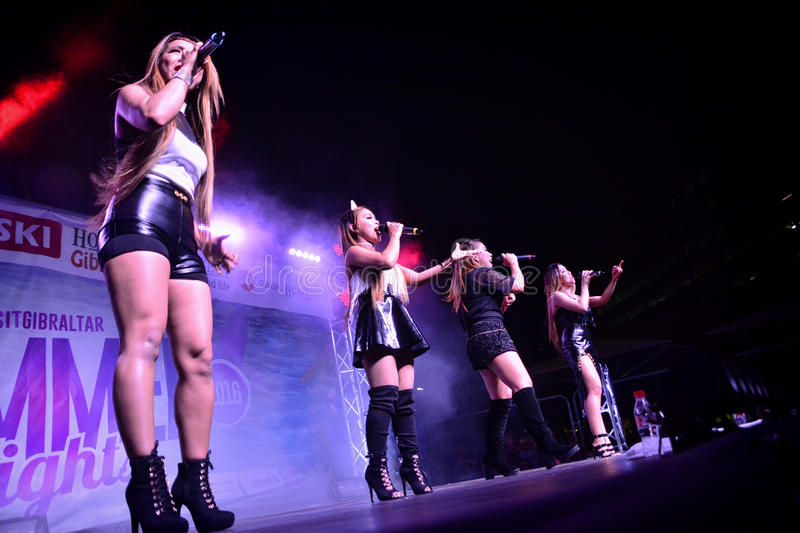 Former X-Factor contestants 4th Impact. Gibraltar - 4th August 2015 - Former X-Factor contestants 4th Impact performed at the annual Gibraltar Summer Nights to a stock photography