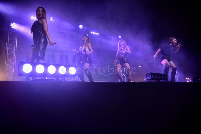 Former X-Factor contestants 4th Impact. Gibraltar - 4th August 2015 - Former X-Factor contestants 4th Impact performed at the annual Gibraltar Summer Nights to a royalty free stock photos