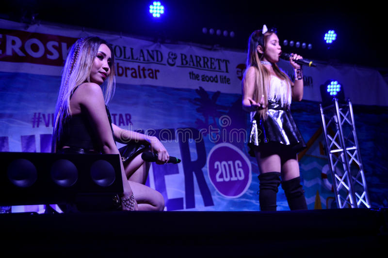 Former X-Factor contestants 4th Impact. Gibraltar - 4th August 2015 - Former X-Factor contestants 4th Impact performed at the annual Gibraltar Summer Nights to a royalty free stock photo