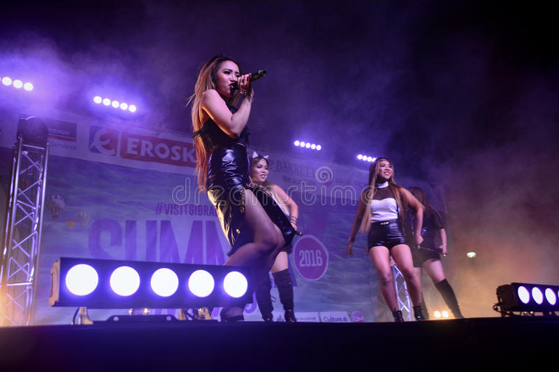 Former X-Factor contestants 4th Impact. Gibraltar - 4th August 2015 - Former X-Factor contestants 4th Impact performed at the annual Gibraltar Summer Nights to a royalty free stock images