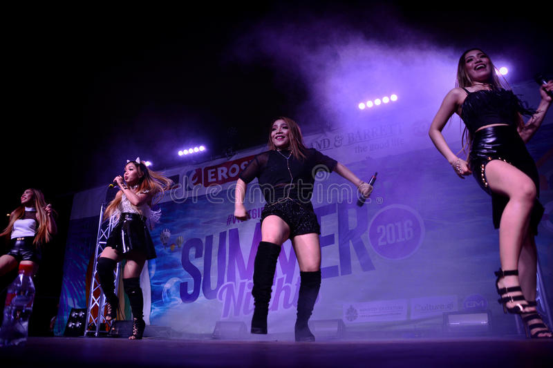 Former X-Factor contestants 4th Impact. Gibraltar - 4th August 2015 - Former X-Factor contestants 4th Impact performed at the annual Gibraltar Summer Nights to a royalty free stock image