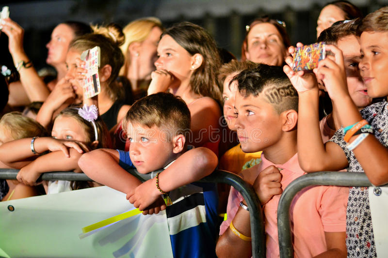 Former X-Factor contestants 4th Impact performed at the annual Gibraltar Summer Nights. Gibraltar - 4th August 2015 - Former X-Factor contestants 4th Impact stock photos