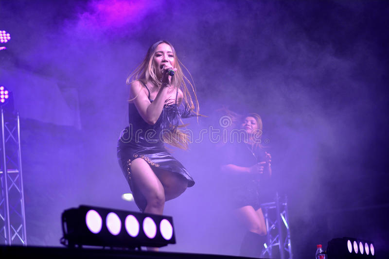 Former X-Factor contestants 4th Impact performed at the annual Gibraltar Summer Nights. Gibraltar - 4th August 2015 - Former X-Factor contestants 4th Impact stock image