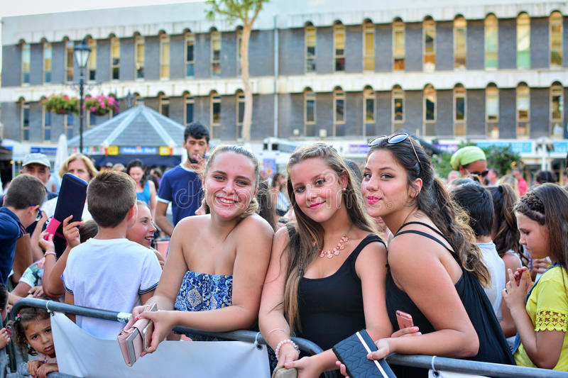 Former X-Factor contestants 4th Impact performed at the annual Gibraltar Summer Nights. Gibraltar - 4th August 2015 - Former X-Factor contestants 4th Impact royalty free stock photo