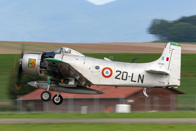 Former French Air Force Douglas A-1D Skyraider single seat attack aircraft F-AZHK. Payerne, Switzerland - August 31, 2014: Former French Air Force Douglas A-1D royalty free stock image