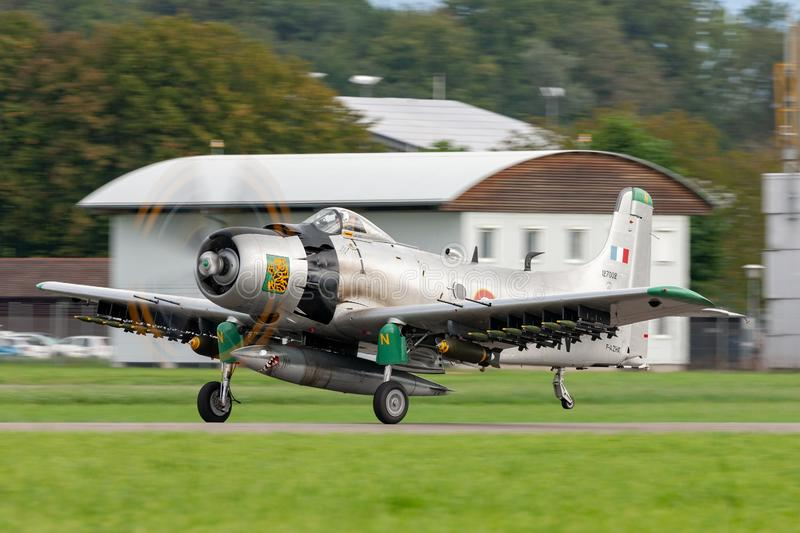 Former French Air Force Douglas A-1D Skyraider single seat attack aircraft F-AZHK. Payerne, Switzerland - August 31, 2014: Former French Air Force Douglas A-1D royalty free stock images