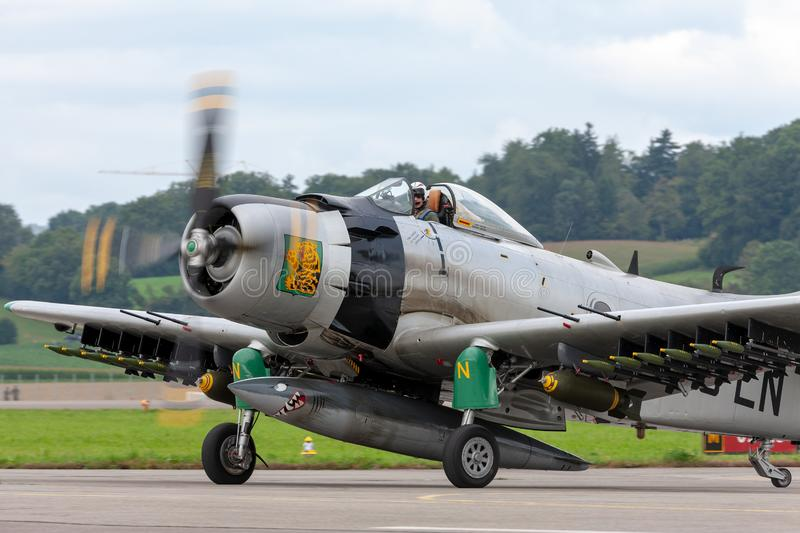 Former French Air Force Douglas A-1D Skyraider single seat attack aircraft F-AZHK. Payerne, Switzerland - August 31, 2014: Former French Air Force Douglas A-1D royalty free stock photography