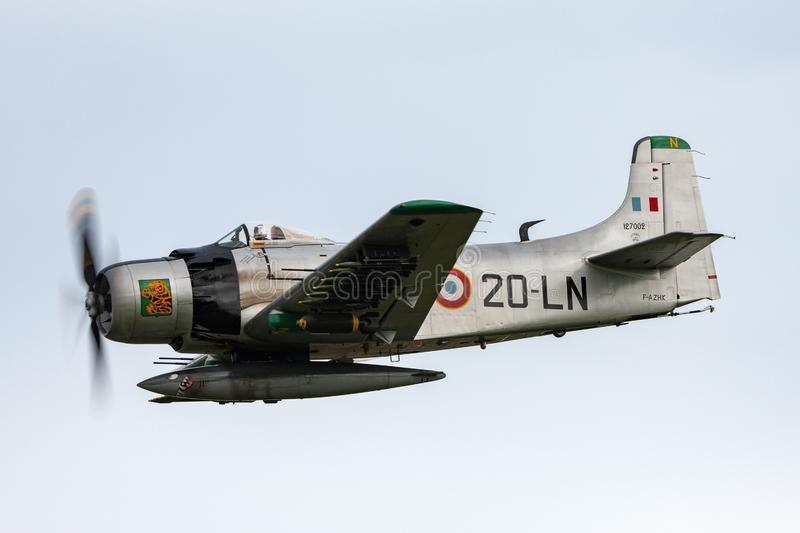 Former French Air Force Douglas A-1D Skyraider single seat attack aircraft F-AZHK. Payerne, Switzerland - August 31, 2014: Former French Air Force Douglas A-1D royalty free stock photos