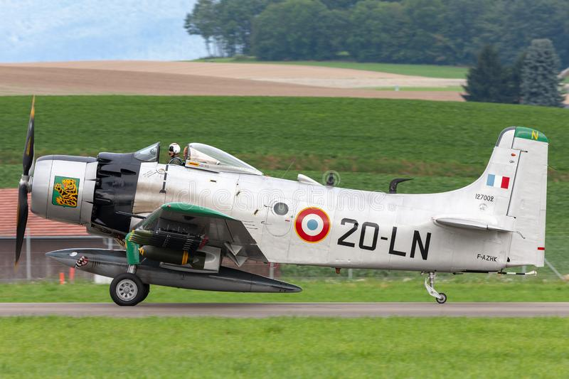 Former French Air Force Douglas A-1D Skyraider single seat attack aircraft F-AZHK. Payerne, Switzerland - August 31, 2014: Former French Air Force Douglas A-1D stock photos