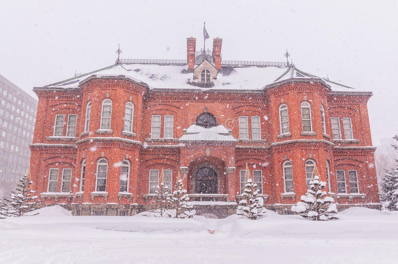 Former Hokkaido Government Office Building in snow stock photography