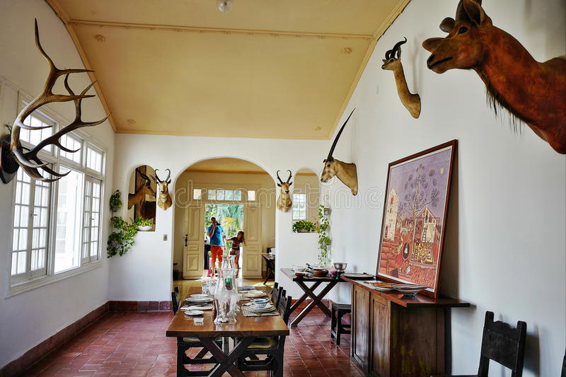 Former home of Ernest Hemingway in Cuba. Finca Vigia meaning `lookout house` located ten miles east of Havana, is Hemingway`s Cuba house, and now is preserved as royalty free stock image