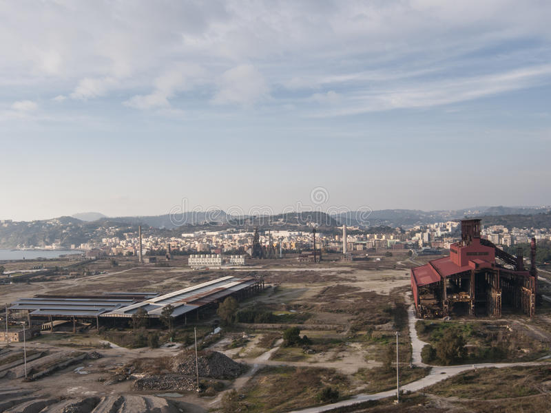 Former Italsider, Bagnoli, Naples, Campania, Italy, Europe. Ex factory Italsider bagnoli photographed in Naples, now, as industrial archeology stock image