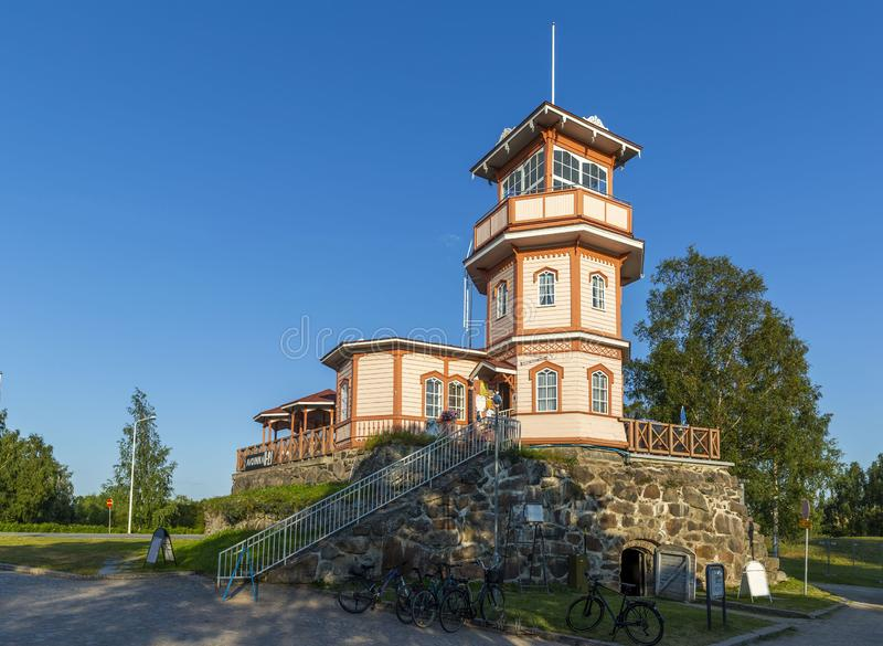 Former observatory built on the remaining powder magazine of the Oulu Castle. Finland royalty free stock image