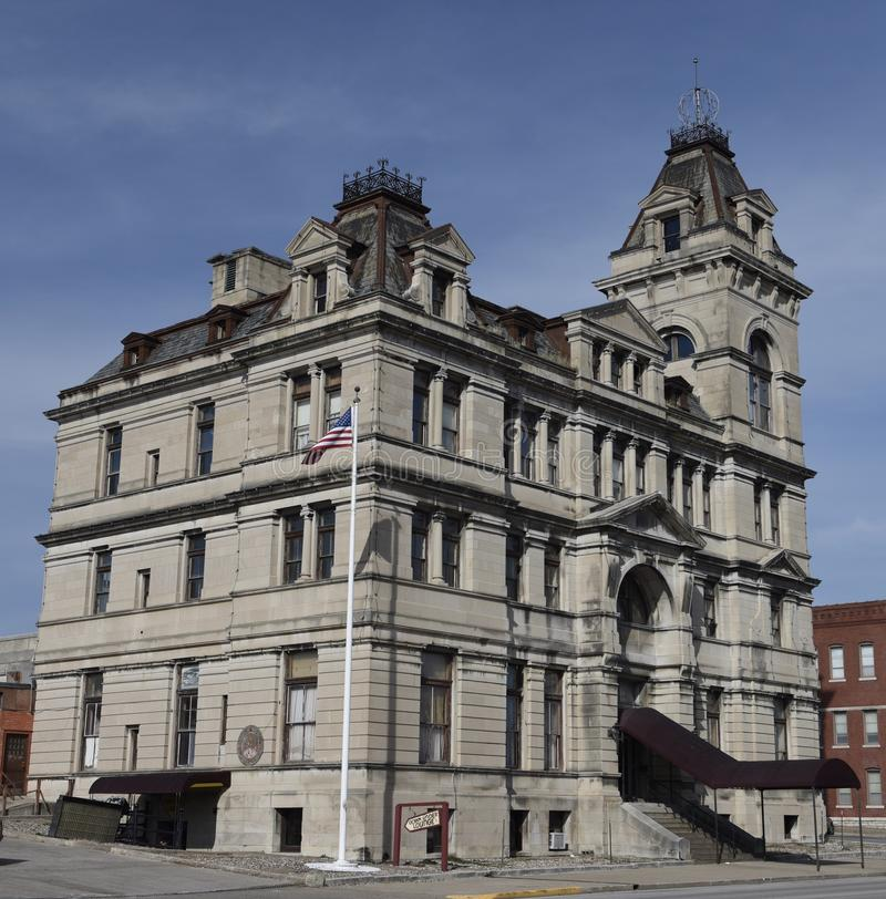 Former Post Office. This is a Winter picture of the former United States Post Office located in Hannibal, Missouri in Marion County. This Federal Building was royalty free stock photo