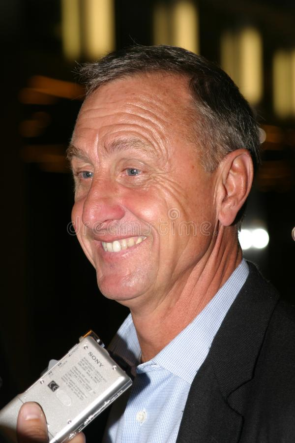 Johann Cruyff speaking to media royalty free stock image