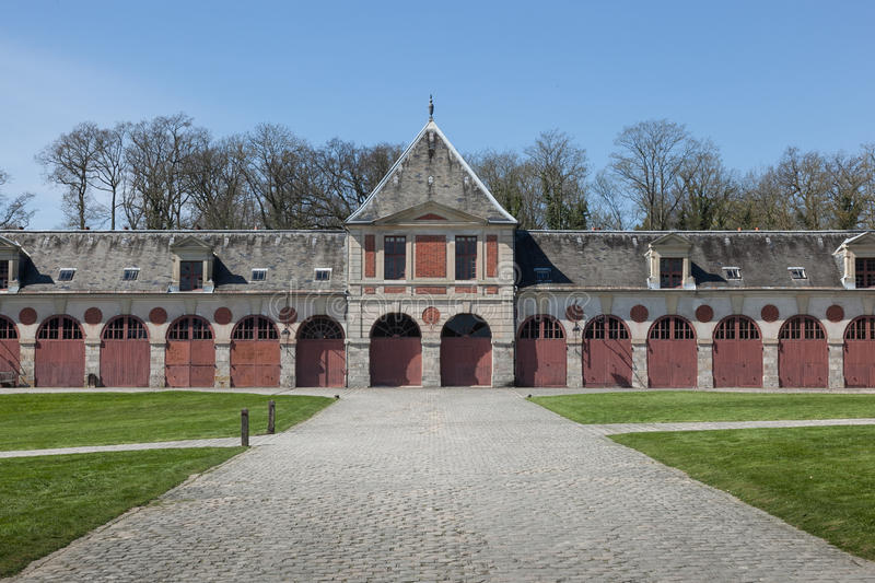 Former stables at Vaux-Le-Vicomte palace. Chateau de Vaux-le-Vicomte (1661) - baroque French Palace royalty free stock photo