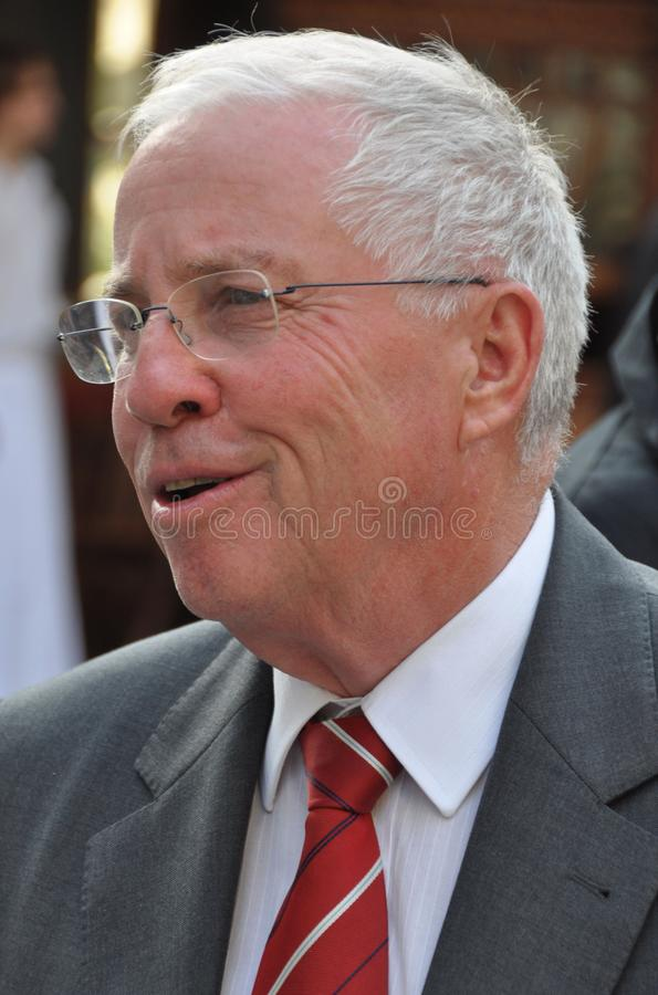 Former swiss federal governor and chancellor Christoph Blocher at the Landesmuseum-Inauguration of the new exhibition about the. Swiss history in the royalty free stock photo