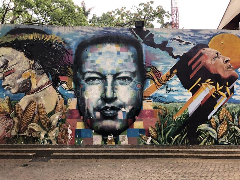 Former Venezuela president Hugo Chavez in a graffiti in a public park in Caracas stock photography