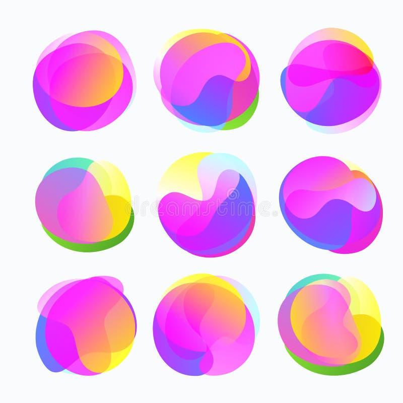 Formes abstraites de couleur Cercles liquides de gradient dans des tons doux illustration de vecteur