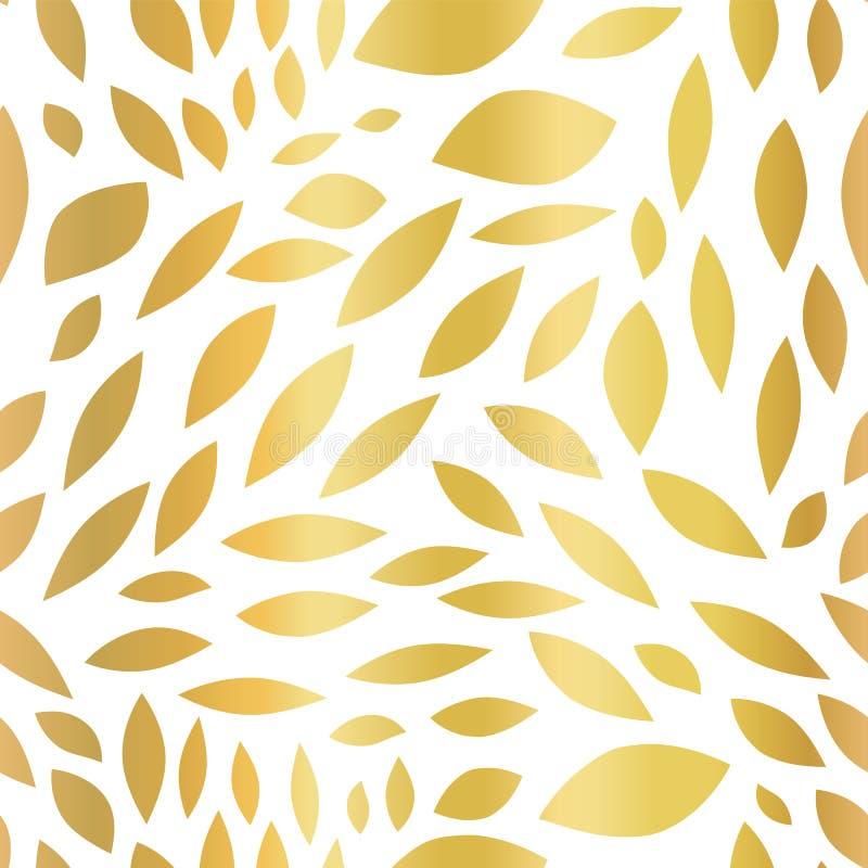 Formes biconvexes abstraites de fond sans couture de vecteur de feuille d'or Modèle d'or de fond Formes dispersées par corps conv illustration libre de droits