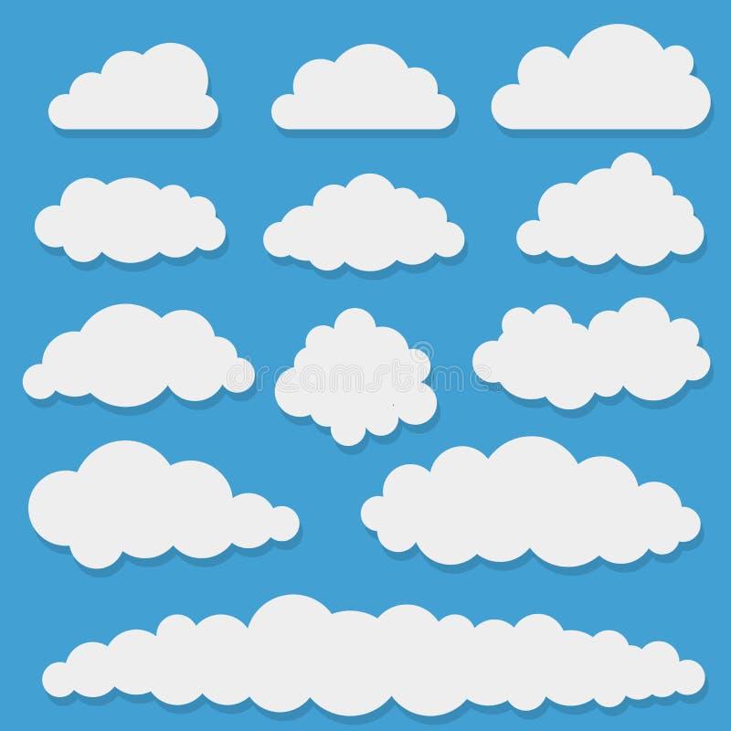 Formes blanches comiques de nuage illustration de vecteur