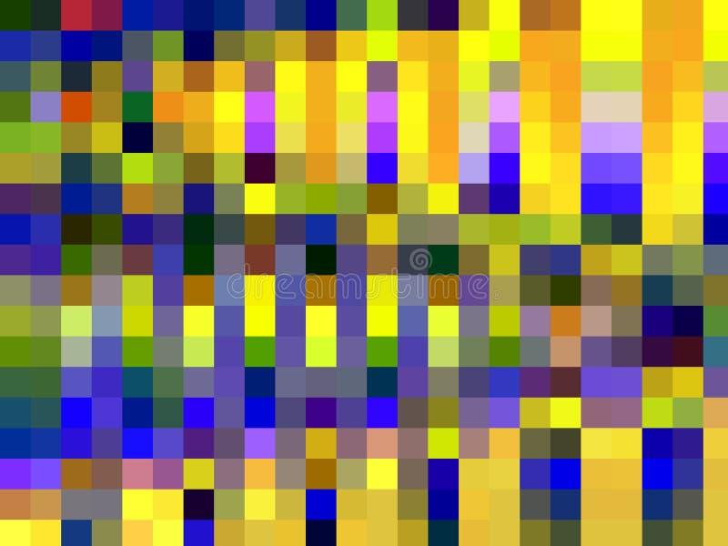 Formes bleues jaunes texture, fond abstrait de places rouges d'or vert illustration stock