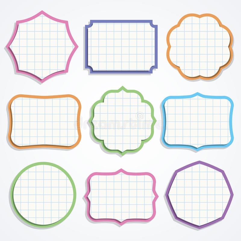 Formes colorées de papier de note. illustration libre de droits