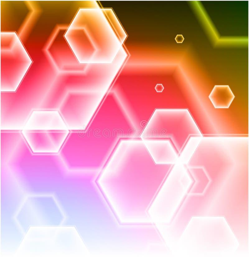 Formes d'hexagone sur le fond abstrait coloré illustration stock