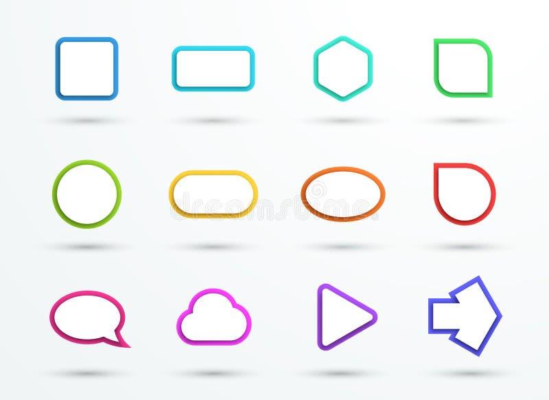 Formes de cadres de zone de texte de couleur du vecteur 3d les différentes ont placé de 12 illustration stock