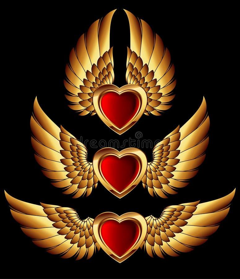 Formes de coeur avec les ailes d'or illustration stock