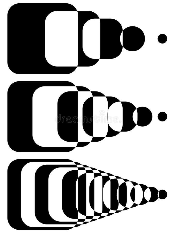 Formes de intersection Blended Ensemble d'intensité 3 Monoch abstrait illustration libre de droits