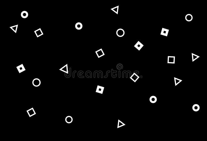 Formes de la géométrie, triangle, places et noir de dispersion de cercle et illustration libre de droits