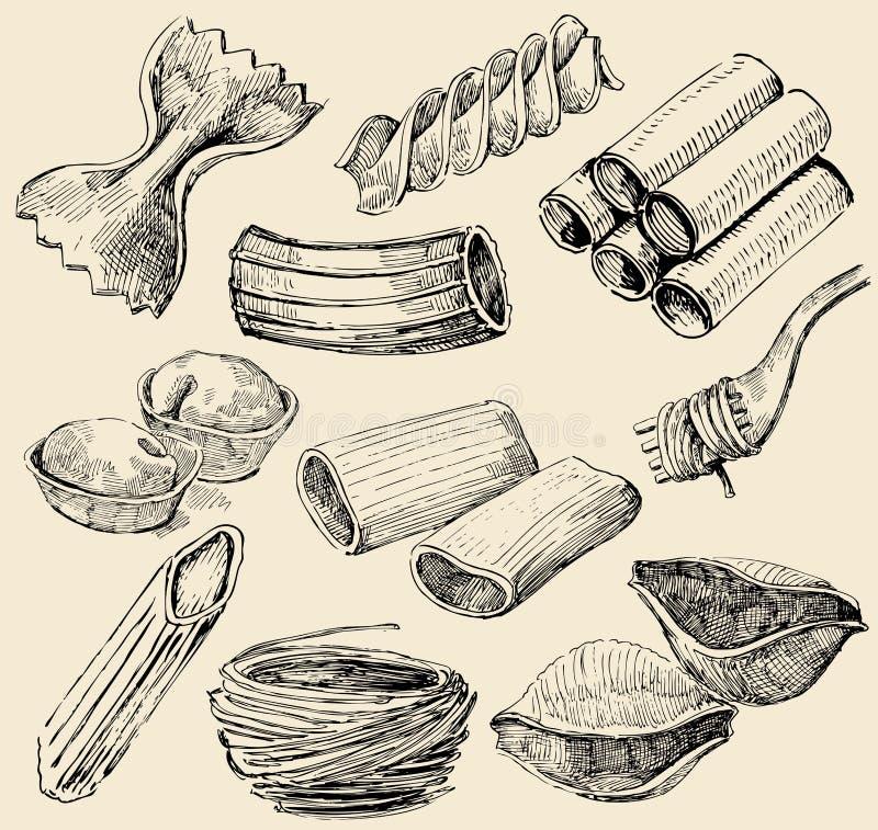 Formes de pâtes illustration de vecteur