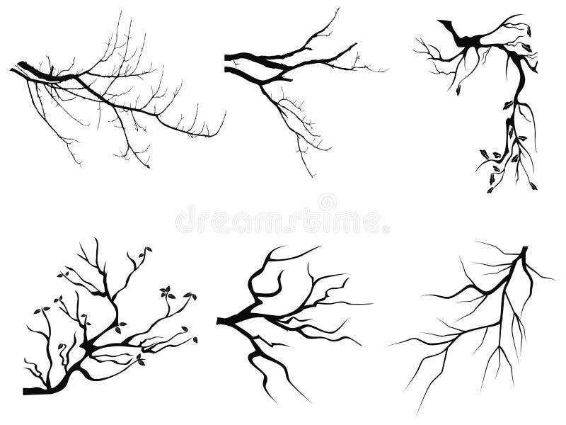 Formes de silhouette de branche illustration libre de droits